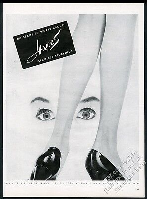 1956 Hanes stockings woman's legs and eyes photo vintage print ad