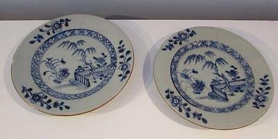 PAIR OF ANTIQUE QIANLONG C18th CHINESE BLUE & WHITE PAINTED PLATESS