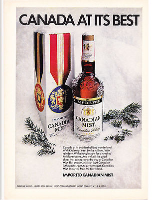 Original Print Ad-1973 CANADIAN MIST-CANADA AT ITS BEST-Gift Wrapped box in Snow