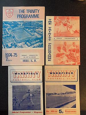4 Wakefield Trinity Rugby League Programmes 60S/70S