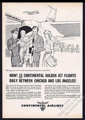 1960 Continental Airlines plane pilot passengers illustrated vintage print ad
