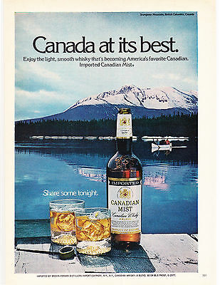 Original Print Ad-1977 CANADIAN MIST-Trumpeter Mountain, B.C. CANADA AT ITS BEST