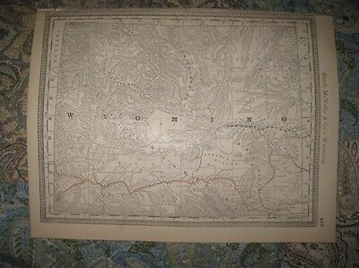 Antique 1888 Wyoming Railroad & Stops Map Superb Detailed Union Pacific Rare Nr