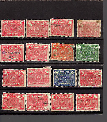 Texas Cigarette Tax Stamps - Lot Of 21 - Good Condition