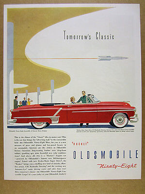1952 Oldsmobile Ninety-Eight 98 Convertible red car art vintage print Ad