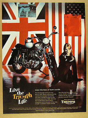 1968 Triumph Trophy Special TR6C motorcycle color photo vintage print Ad