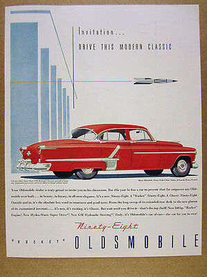 1952 Oldsmobile Ninety-Eight 98 Sedan red car illustration art vintage print Ad