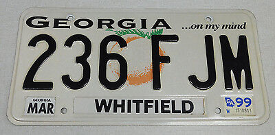 1999 Georgia passenger car license plate Whitfield county