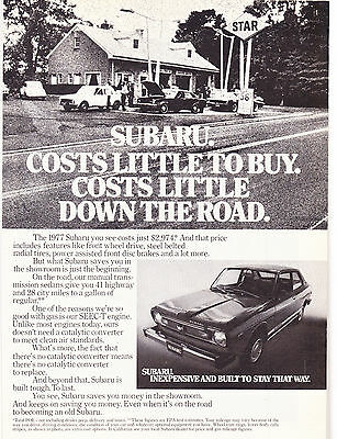 Original Print Ad-1977 SUBARU. COSTS LITTLE TO BUY. COSTS LITTLE DOWN THE ROAD.