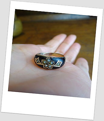 Antique Victorian Gold Enamel & Seed Pearl Mourning Ring
