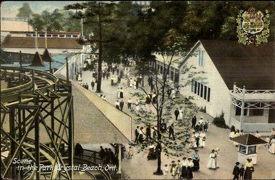 Crystal Beach Ontario ON Amusement Park - Roller Coaster to Left c1910 PC