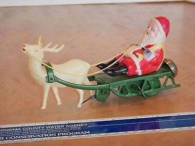 Antique Celluloid & Tin Toy Wind-Up Santa Claus On Sled Made In Occupied Japan