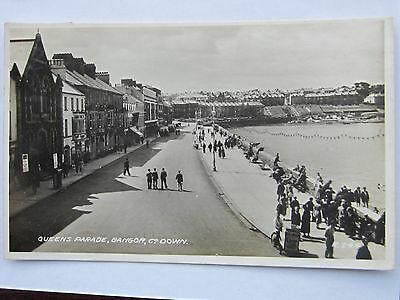 Bangor Co Down Queens Parade Tide In People On Wall Walkers R. 344 Sent 1939