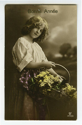 1910's Children Child YOUNG GIRL w/ BASKET antique photo postcard