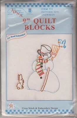 """1 Jack Dempsey """"Snowman"""" Stamped Xstitch & Embroidery Quilt Blocks"""