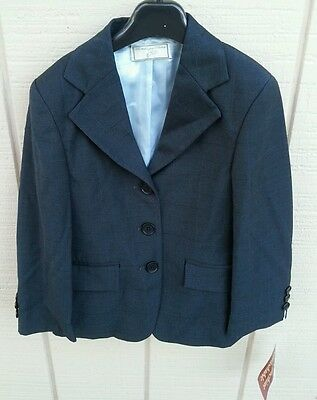 NWT WELLINGTON COLLECTION $99 SZ 6 Washable Horse Show Jacket Coat Navy Plaid