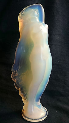 RARE Sabino French Art Deco Opaline Glass Nude Figure 1920s Mascot
