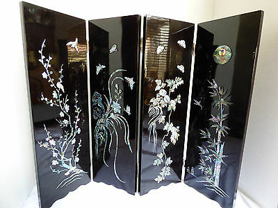 2002 FIFA Folding Screen Black Lacquer Abalone Inlay Korea Japan Decor Table Top