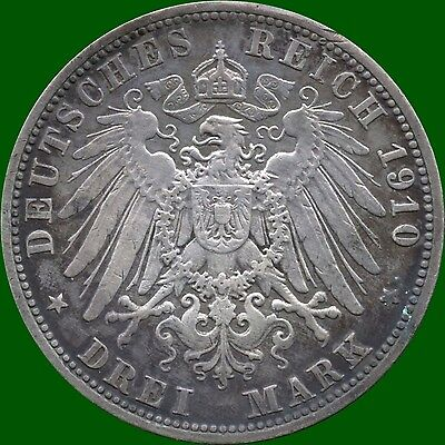 1910 'A' Germany (Prussia) 3 Mark Silver Coin (16.667 Grams .900)