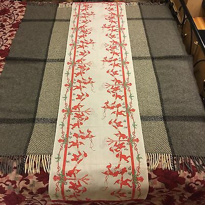Antique Swedish Christmas Jenny Nystrom Santa Runner Tablecloth Candle Holder