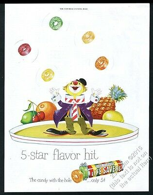 1950 Life Savers candy circus clown juggling five flavors vintage print ad