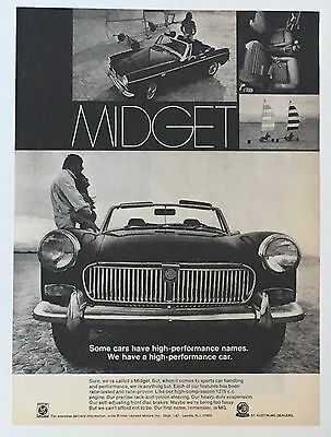 1969 MG Midget Advertisement Photo Convertible Sports Car AD Performance