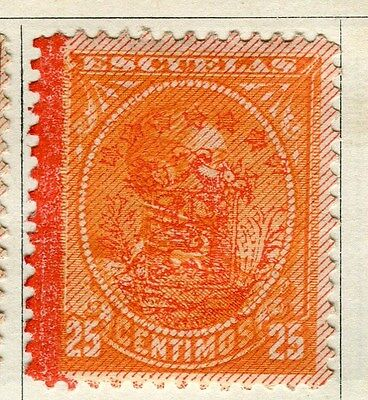 VENEZUELA;  1893 early classic Optd. issue Inland 25c. Mint hinged value
