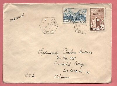 1955 French Morocco Casablanca 100Fr Air Mail # C44 On Cover To Usa