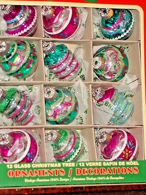 SHINY BRITE Christmas Tree Ornaments Assorted Shapes Set of 12 Glitter New 2016
