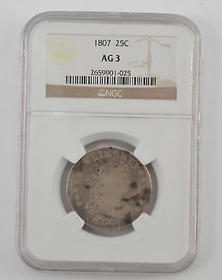 1807 Draped Bust Quarter Dollar, Heraldic Eagle Reverse- NGC AG3 *A24