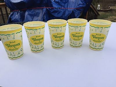 5 Old Vintage DRINK VERNOR'S soda waxed paper cup  7oz  NEW OLD STOCK