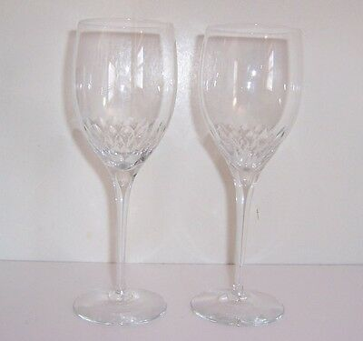"""Orrefors Prelude Clear Crystal 7 1/4"""" Claret Wine Glasses Pair Mint Condition."""