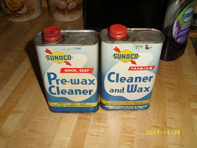 Vintage Sunoco Wax And Cleaner Cans