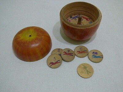 Toy Roulette Game in Apple Box Collectible Japan Circa 1930's