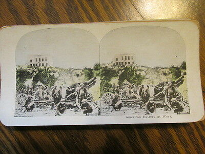 American Battery At Work Gun Wwi Stereo View Card Stereoview