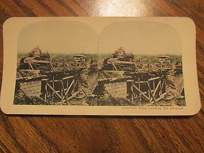 American Tank Leading The Advance Wwi Stereo View Card Stereoview
