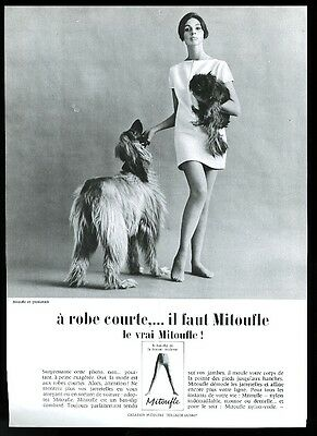 1956 Afghan Hound photo Mitoufle stockings French vintage print ad