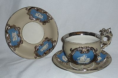 Antique Mettlach Drabware Cameo/Medallion Large Cup & 2 Large Saucers