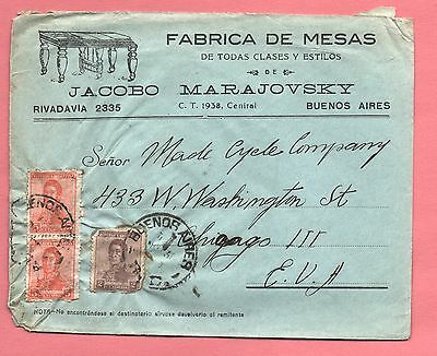 1930's Argentina Table Manufacturing Co Advertising Cover To Usa