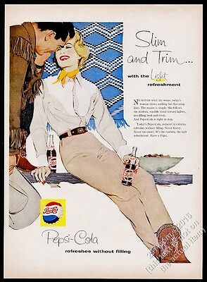 1958 Pepsi-Cola cowgirl with bottle art vintage print ad