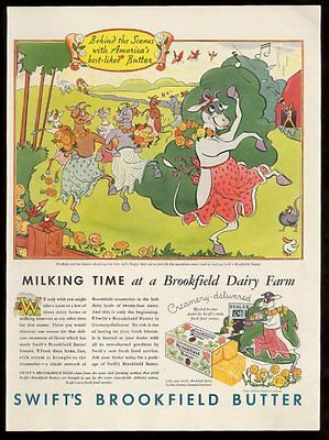 1933 happy dancing farm cow parade art Swift's Brookfield Butter print ad