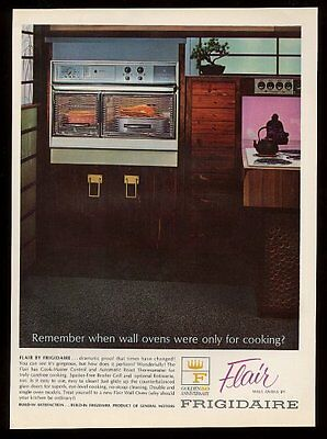 1965 Frigidaire Flair range double wall oven pull-out cooktop photo print ad