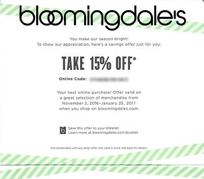 15% off BLOOMINGDALE'S Entire Purchase FAST Online Promo Code Exp 1/28/17