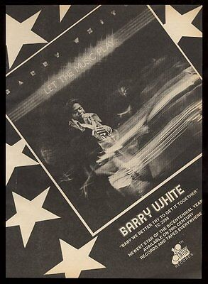 1976 Barry White photo Let The Music Play album release BIG trade print ad