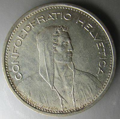 Switzerland, 1950-B Silver 5 Francs, William Tell Bust