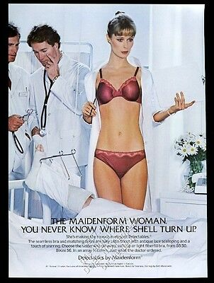 1982 Maidenform lingerie doctor woman red bra panty photo vintage print ad