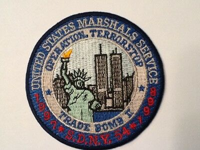 """United States Marshals Service  Sdny Trade Bomb Ii  Terrorstop3"""" Patch  New !!"""