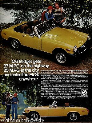 1971 MG Midget Yellow Convertible Vintage Sports Car Photo AD