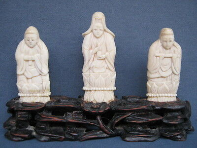 Chinese Antique Miniture Carving of 3 Scholars on Carved Lotus Blossom Stand