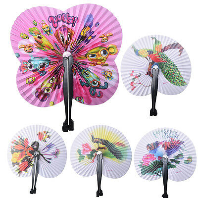 Hot Summer Kids Child Girl Chinese Fan Folding Small Round Paper Hand Fans HU